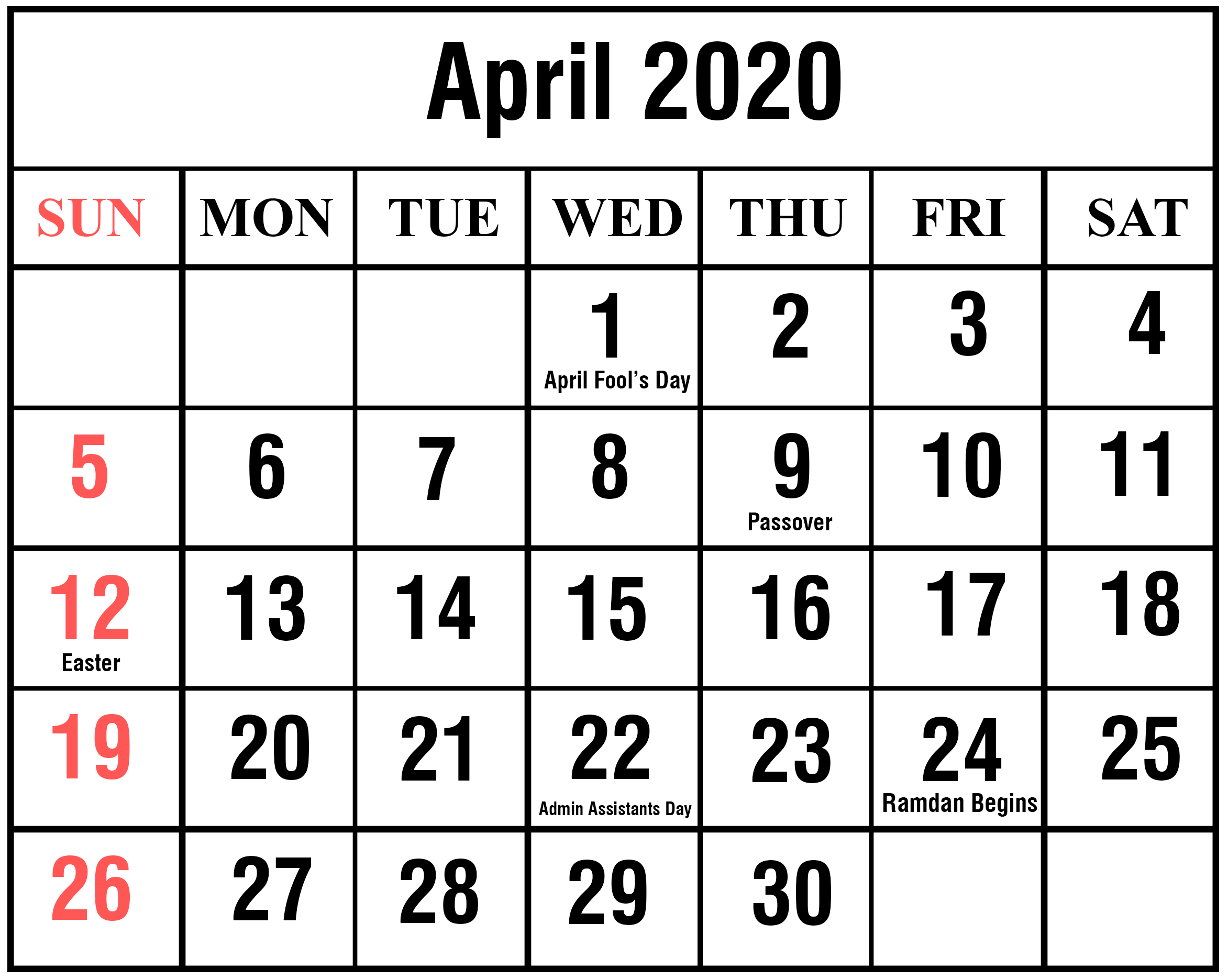 April & May 2020 Printable Calendar | Printable April intended for 2020 Sri Lanka Calendar