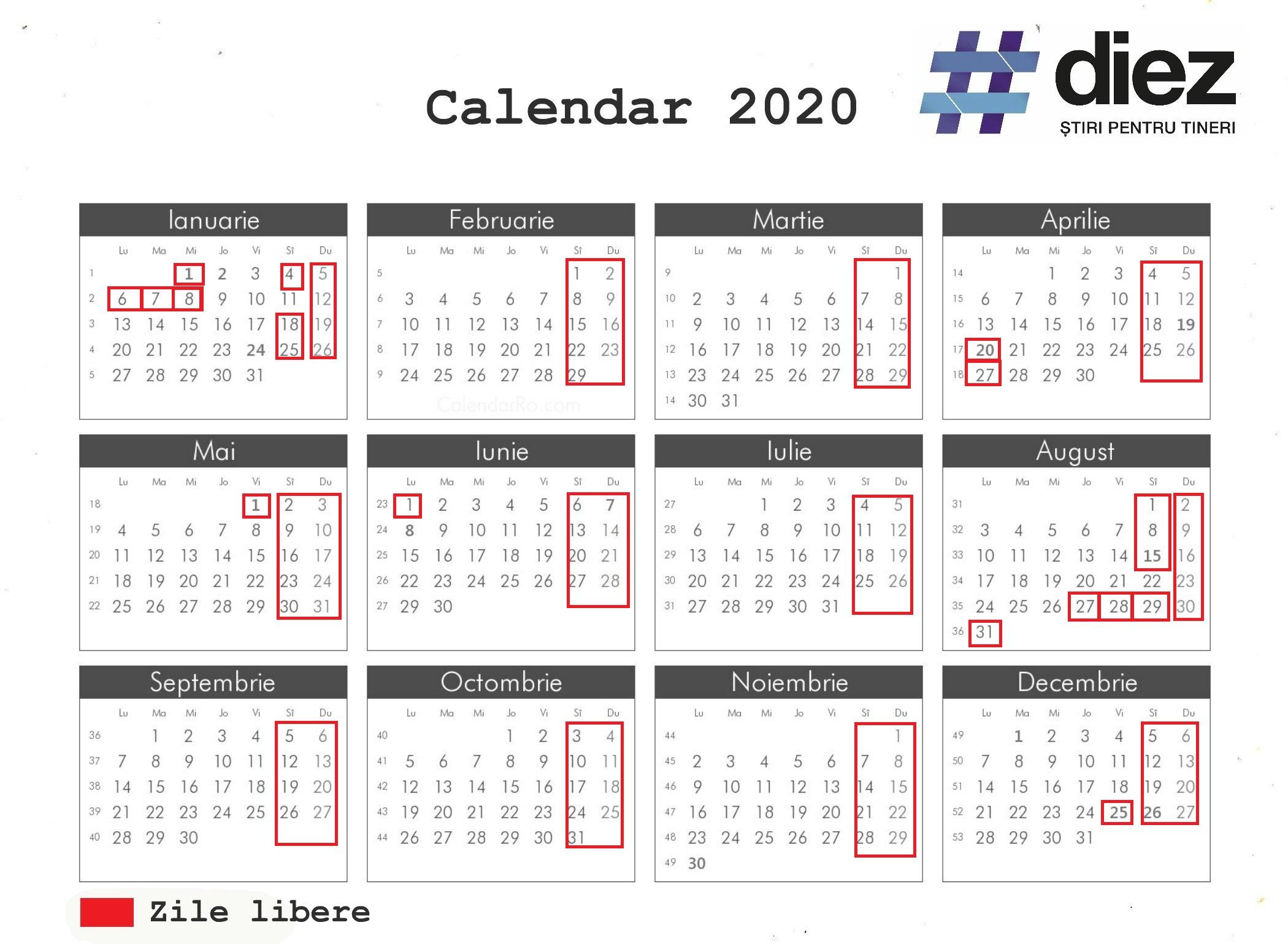 Aprobat De Guvern! Care Vor Fi Zilele De Odihnă În Anul 2020 inside Calendar 2020 Zile Libere