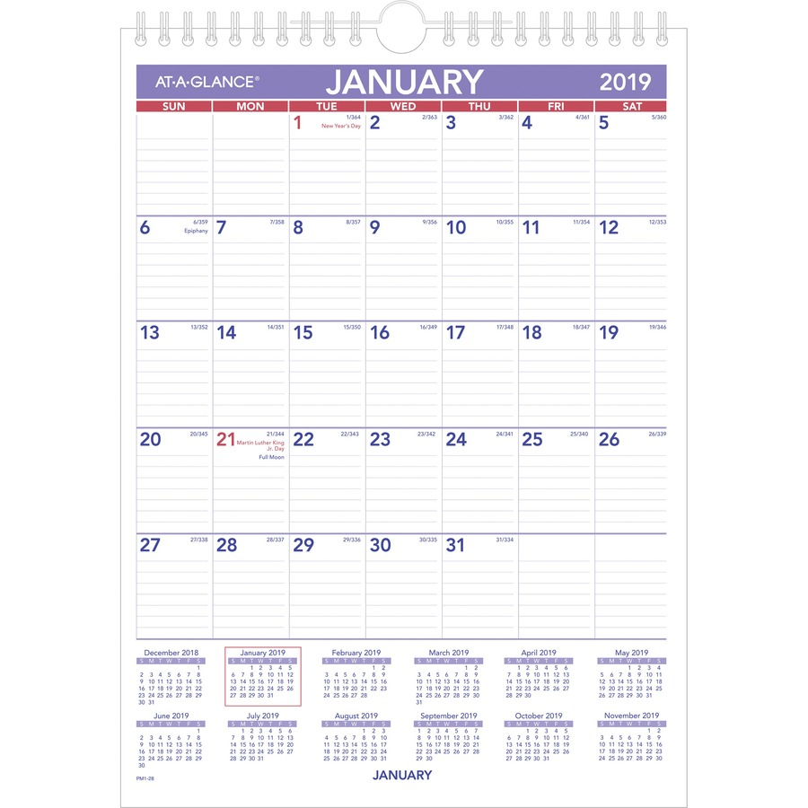 "At-A-Glance Recycled Monthly Wall Calendar - Yes - Monthly - 1 Year -  January 2020 Till December 2020 - 1 Month Single Page Layout - 8"" X 11"" -  Wire within 2020 December Calendar 8 X11 Printable"
