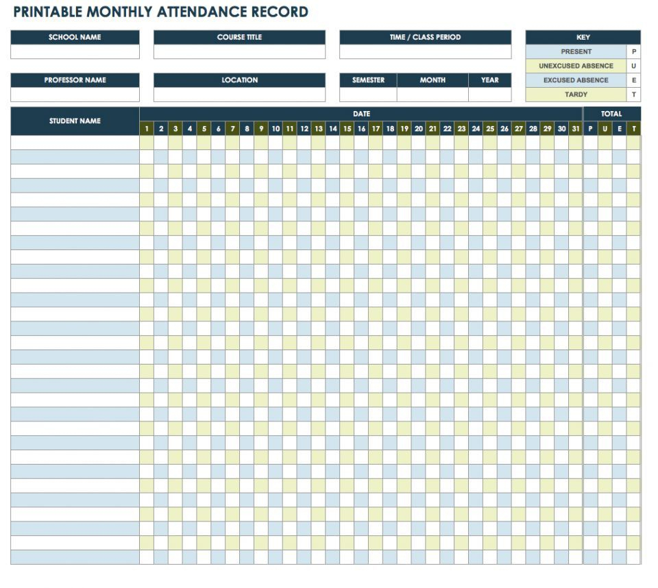 Attendance Tracker Template This Monthly Supplies A Grid within Attendance Tracker Printable