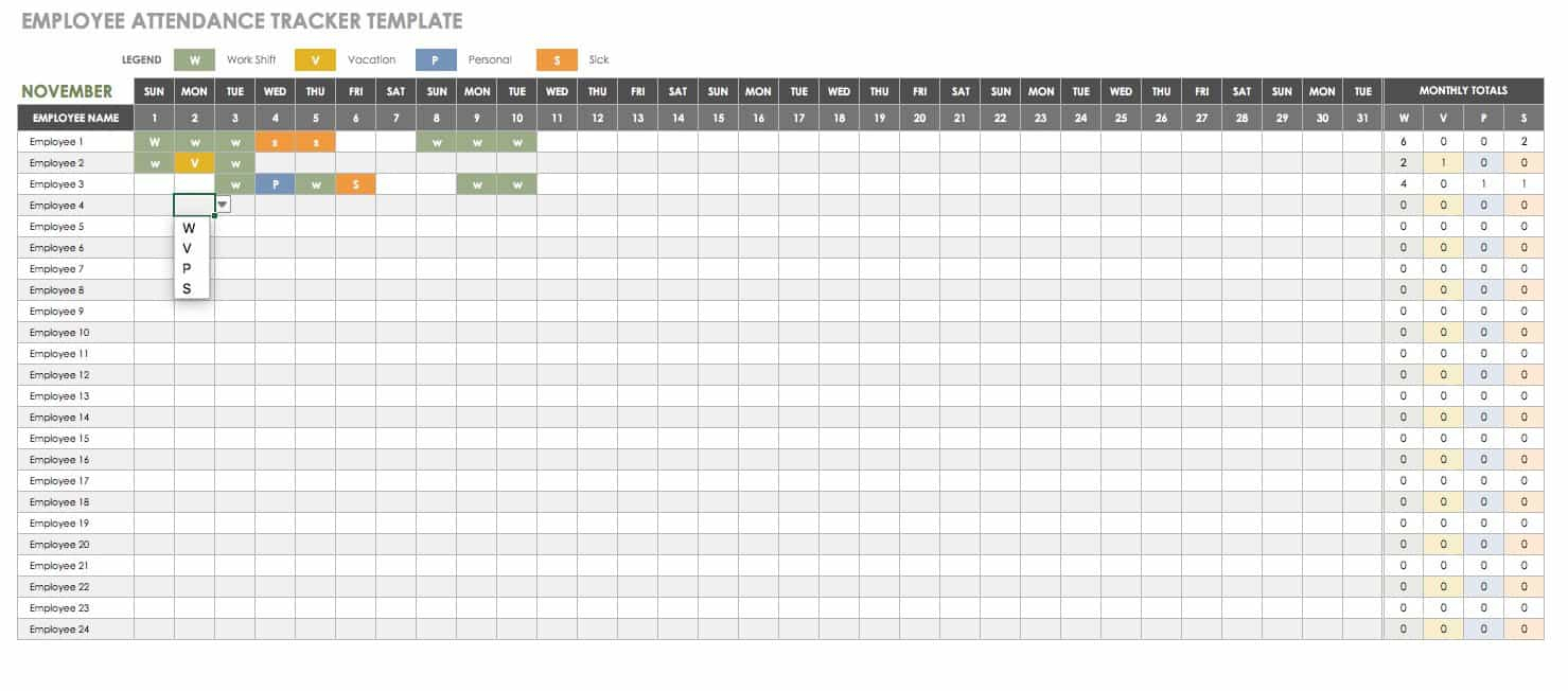 Attendance Tracking Sheets - Wpa.wpart.co intended for Attendance Tracker Printable