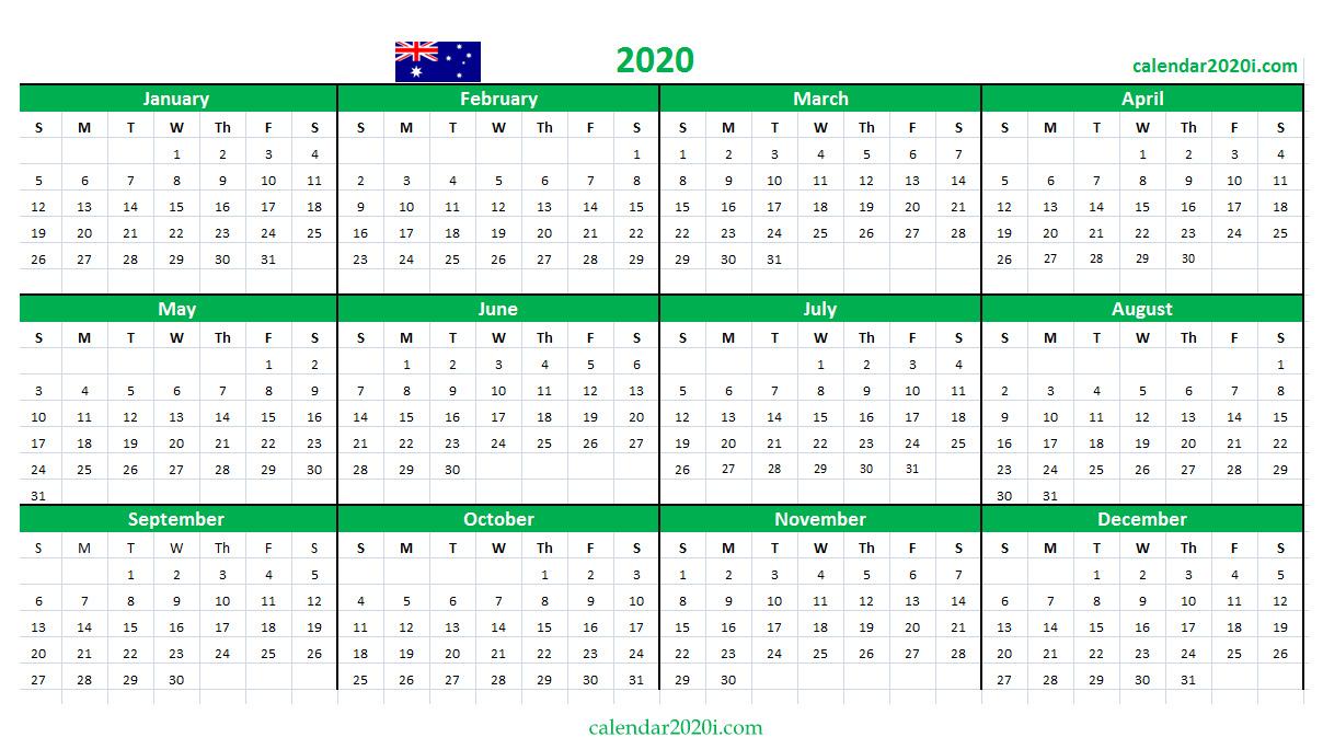 Australia 2020 Calendar Printable, Word, Excel, Holidays regarding Calendar 2020 Australia