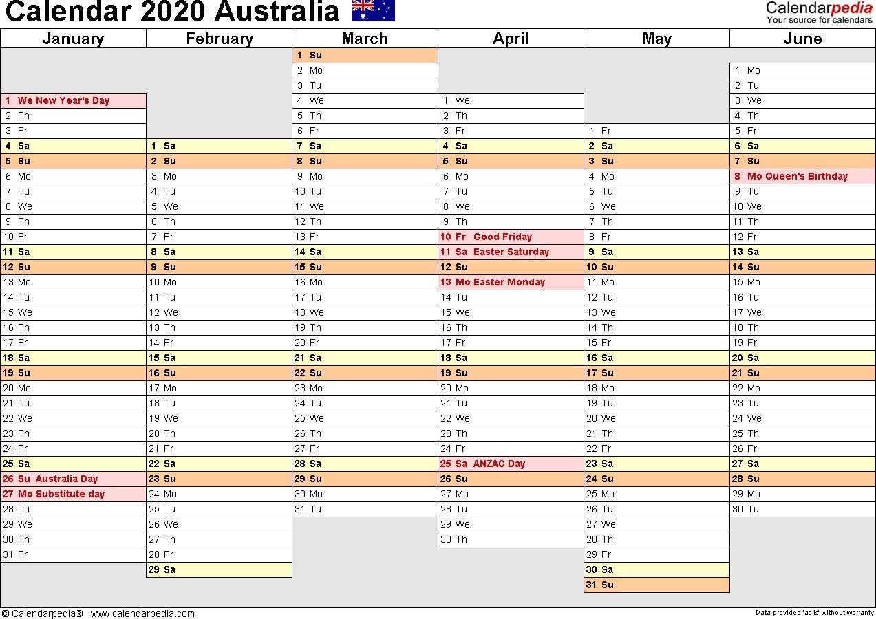 Australia Calendar 2020 – Free Printable Pdf Templates-4 regarding Calendar 2020 Australia