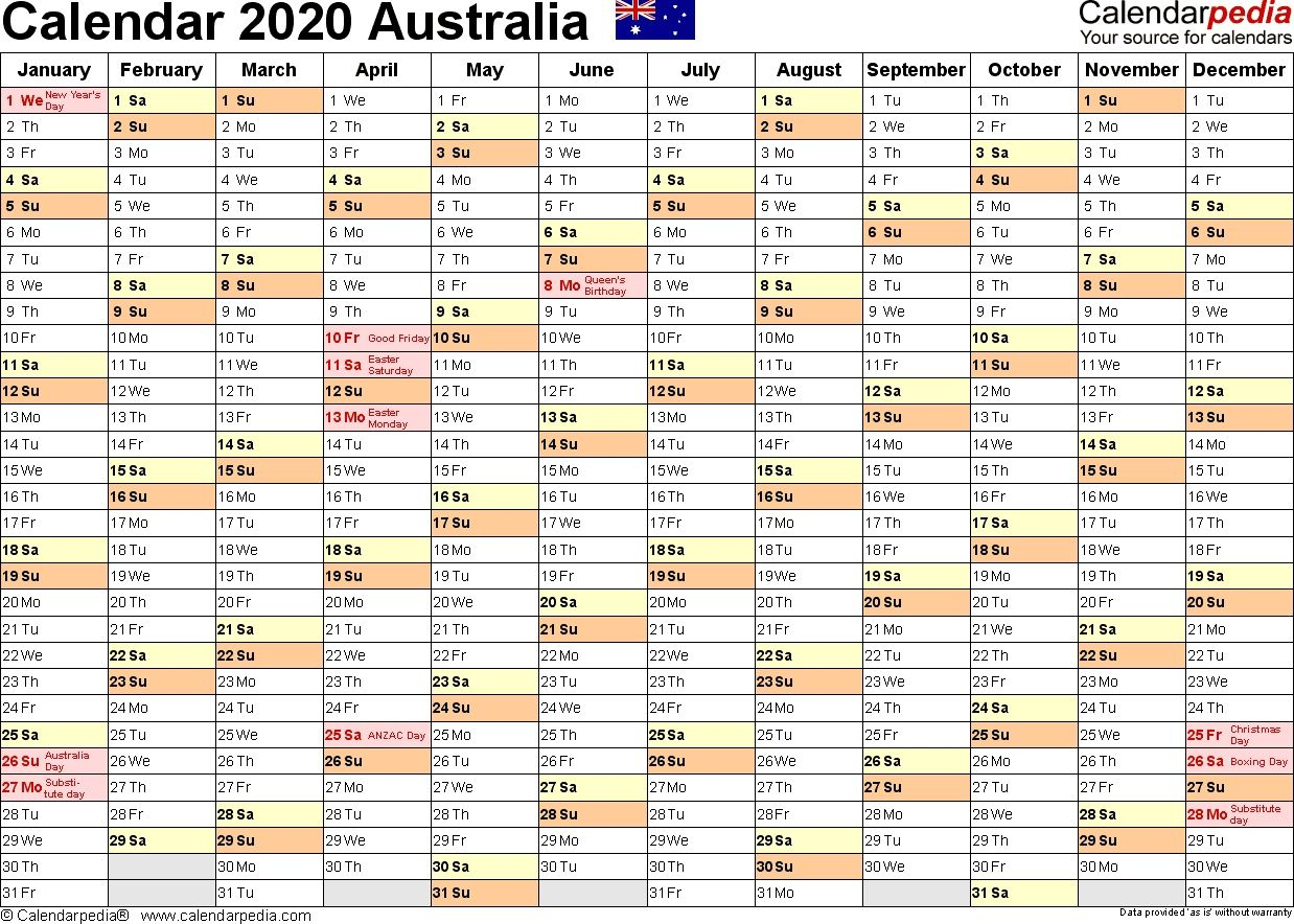 Australia Calendar 2020 - Free Printable Pdf Templates inside Calendar 2020 Australia