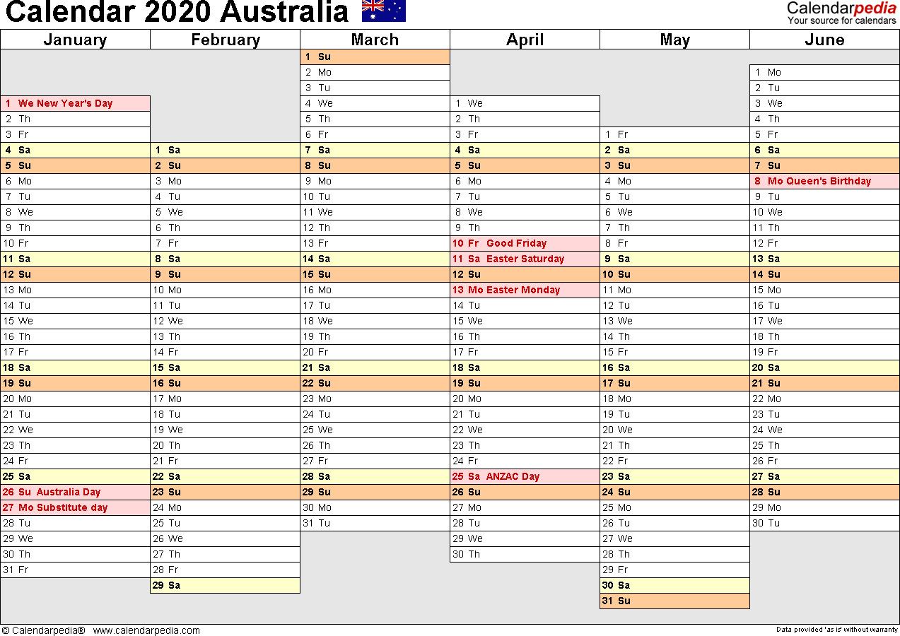 Australia Calendar 2020 - Free Printable Pdf Templates within 2020 Qld School Calendar Printable