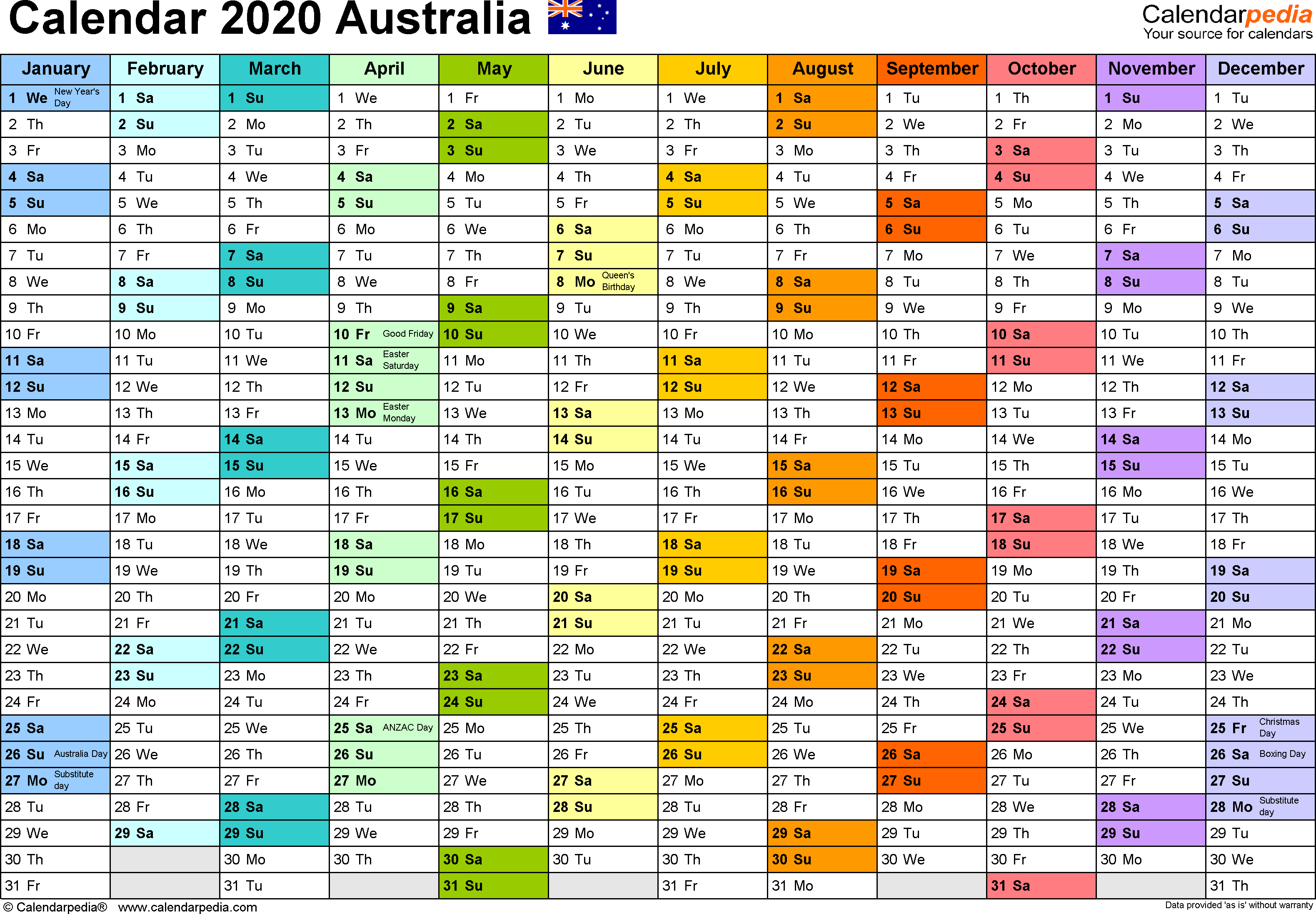 Australia Calendar 2020 - Free Printable Word Templates within Qld School Calendar 2020 Printable