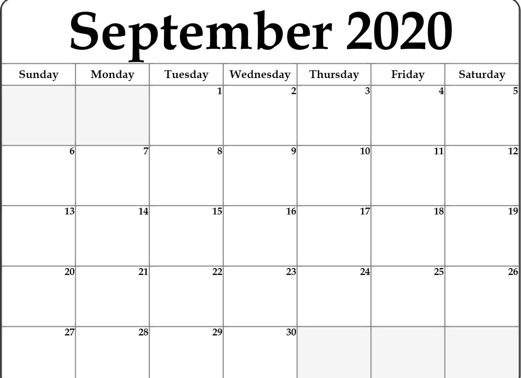 Awesome September 2020 Calendar Pdf, Word, Excel Template throughout Free Printable Monthly Calendar September 2020