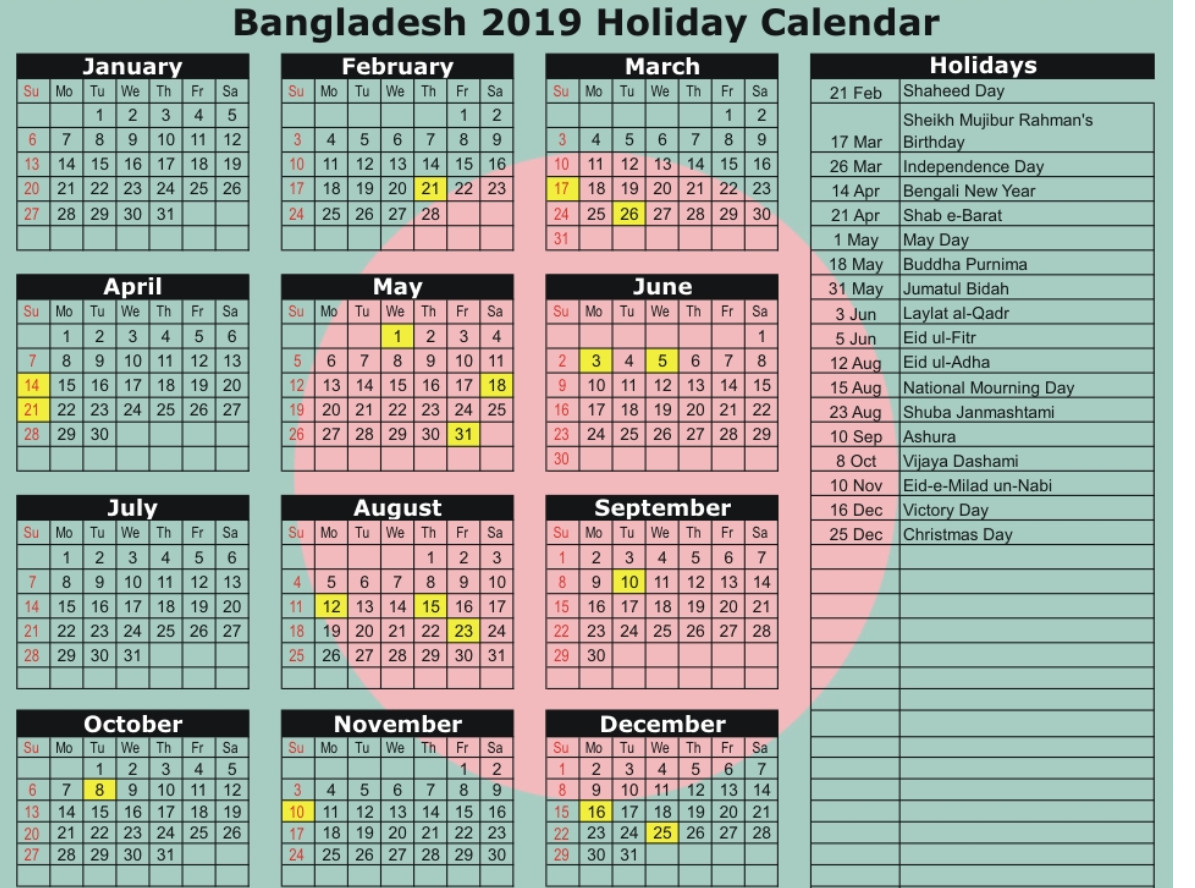 Bangladesh Government Calendar 2019 | Calendar March, School within Calander 2020 We Does The School Close