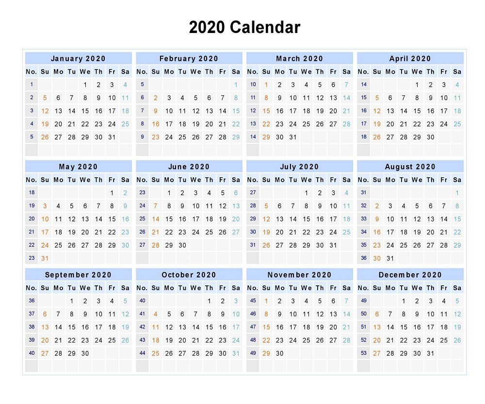 Blank 2020 12 Months Calendar | 12 Month Calendar, Monthly pertaining to 2020 Calendar By Month And Week Number Excel