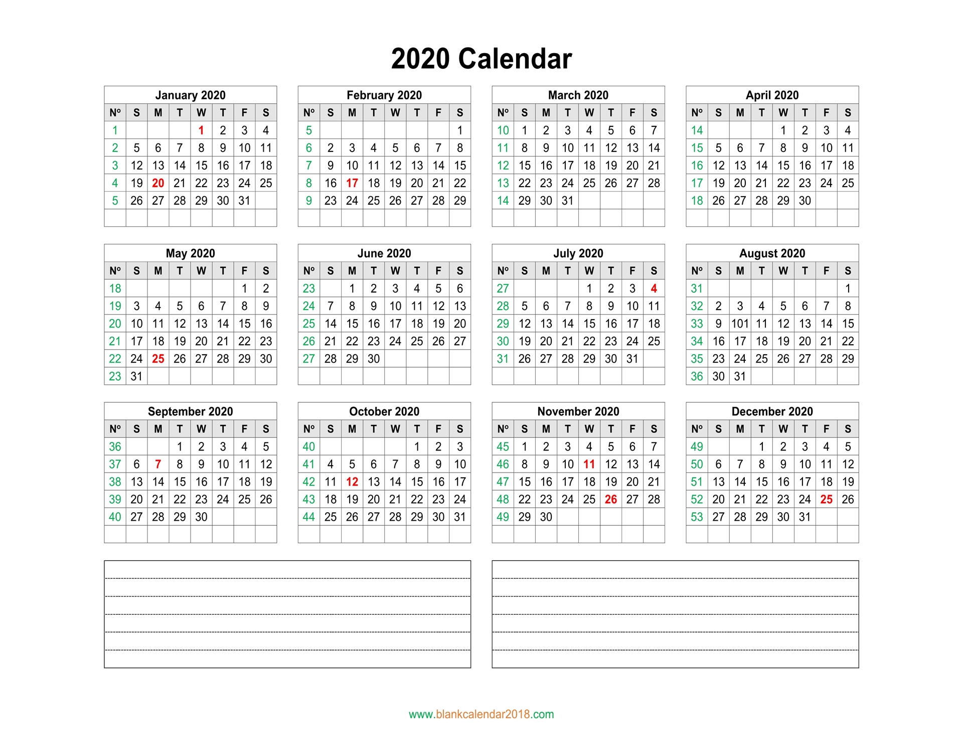 Blank Calendar 2020 for 2020 Monthly Calinder With Week Numbers