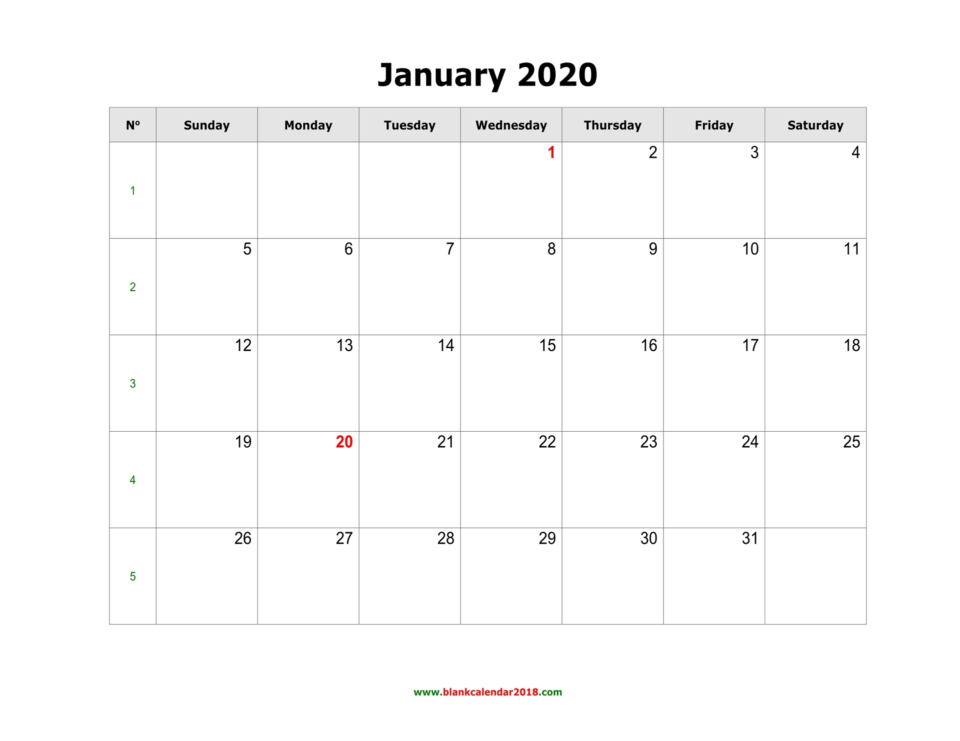 Blank Calendar 2020 in 2020 Monthly Fill In Calendars