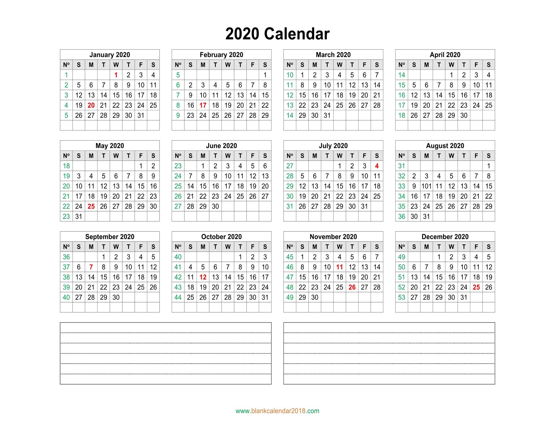 Blank Calendar 2020 inside 2020 Calendar By Month And Week Number Excel