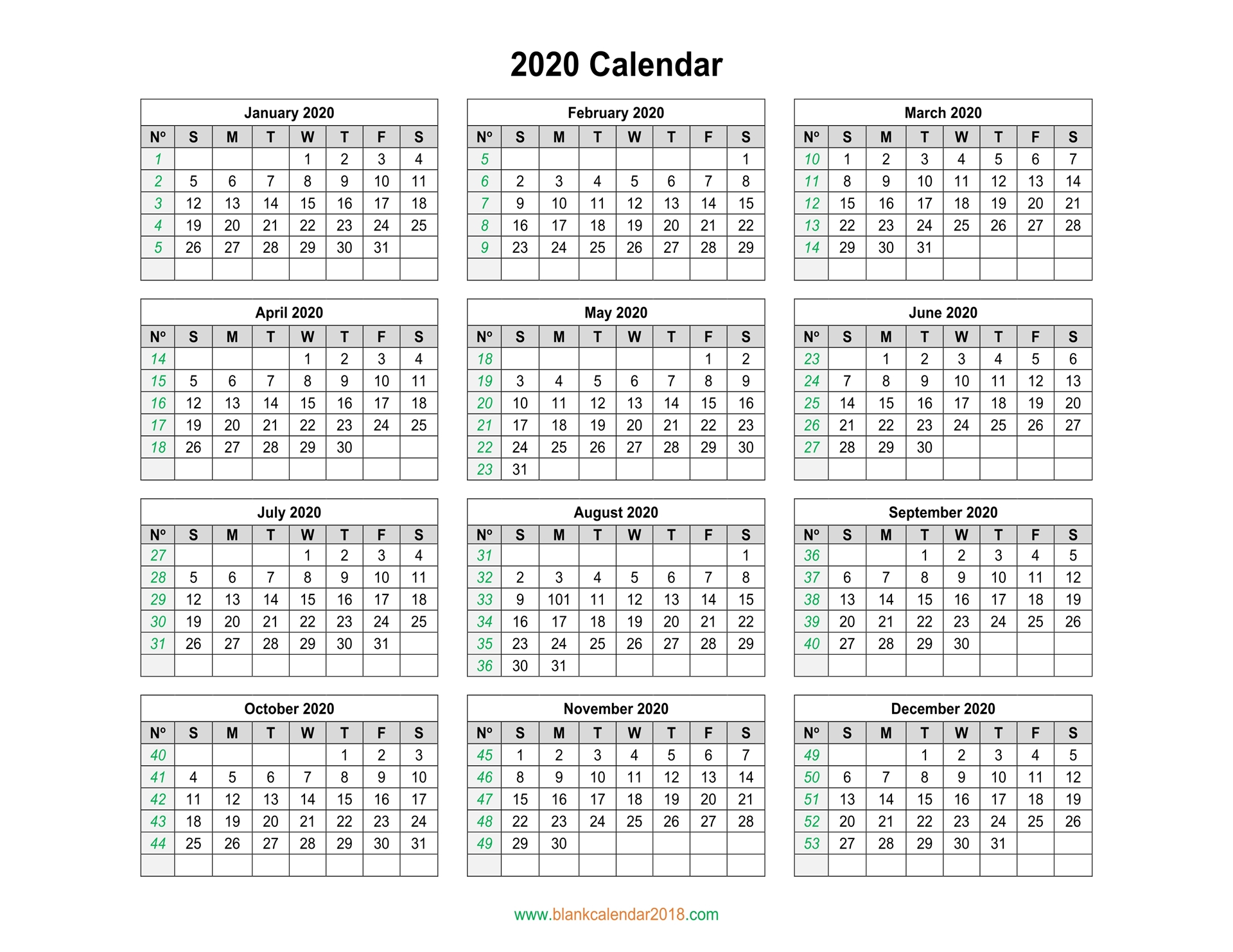 Blank Calendar 2020 inside 2020 Monthly Calinder With Week Numbers