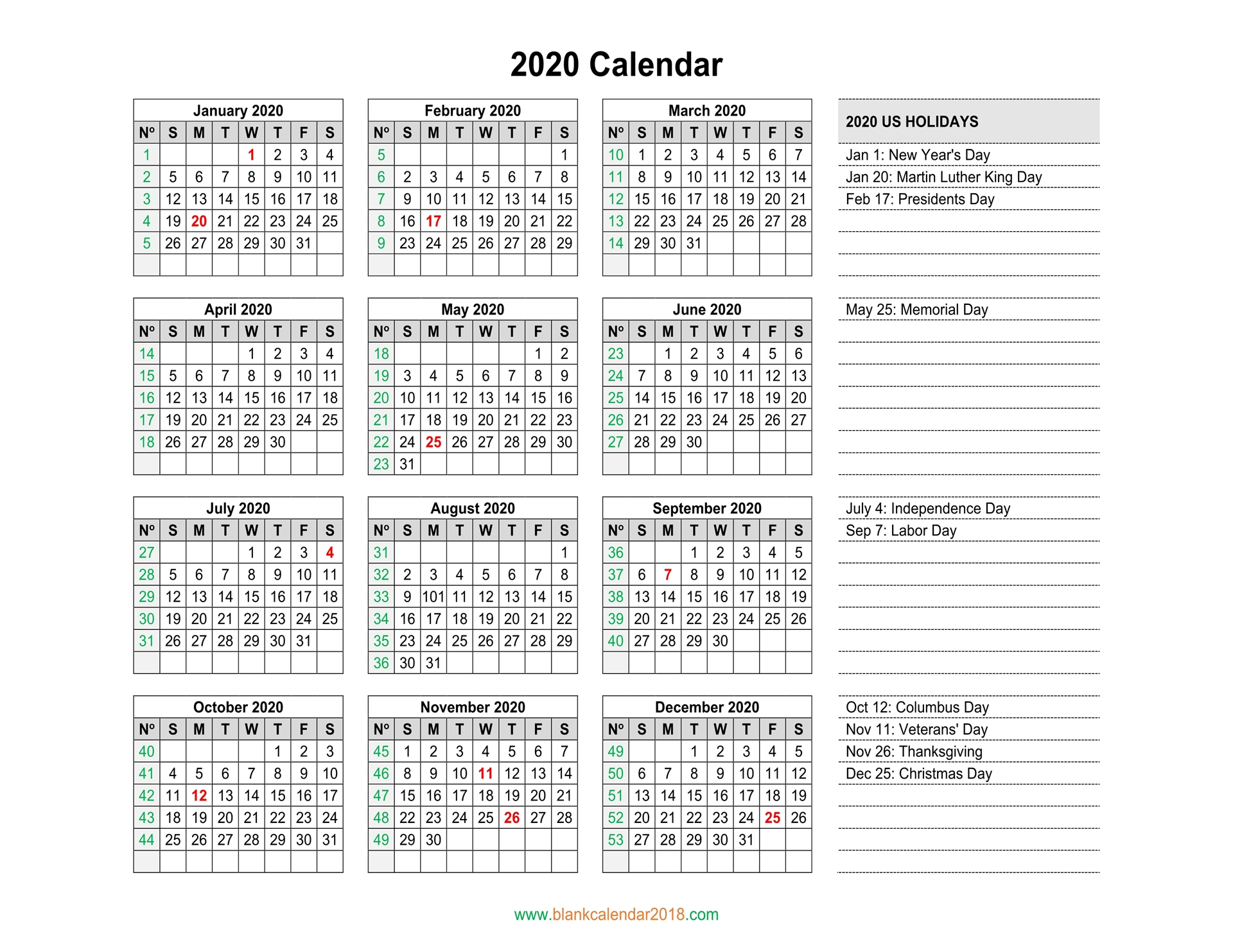 Blank Calendar 2020 inside 2020 Yearly Calendar With Holidays Printable
