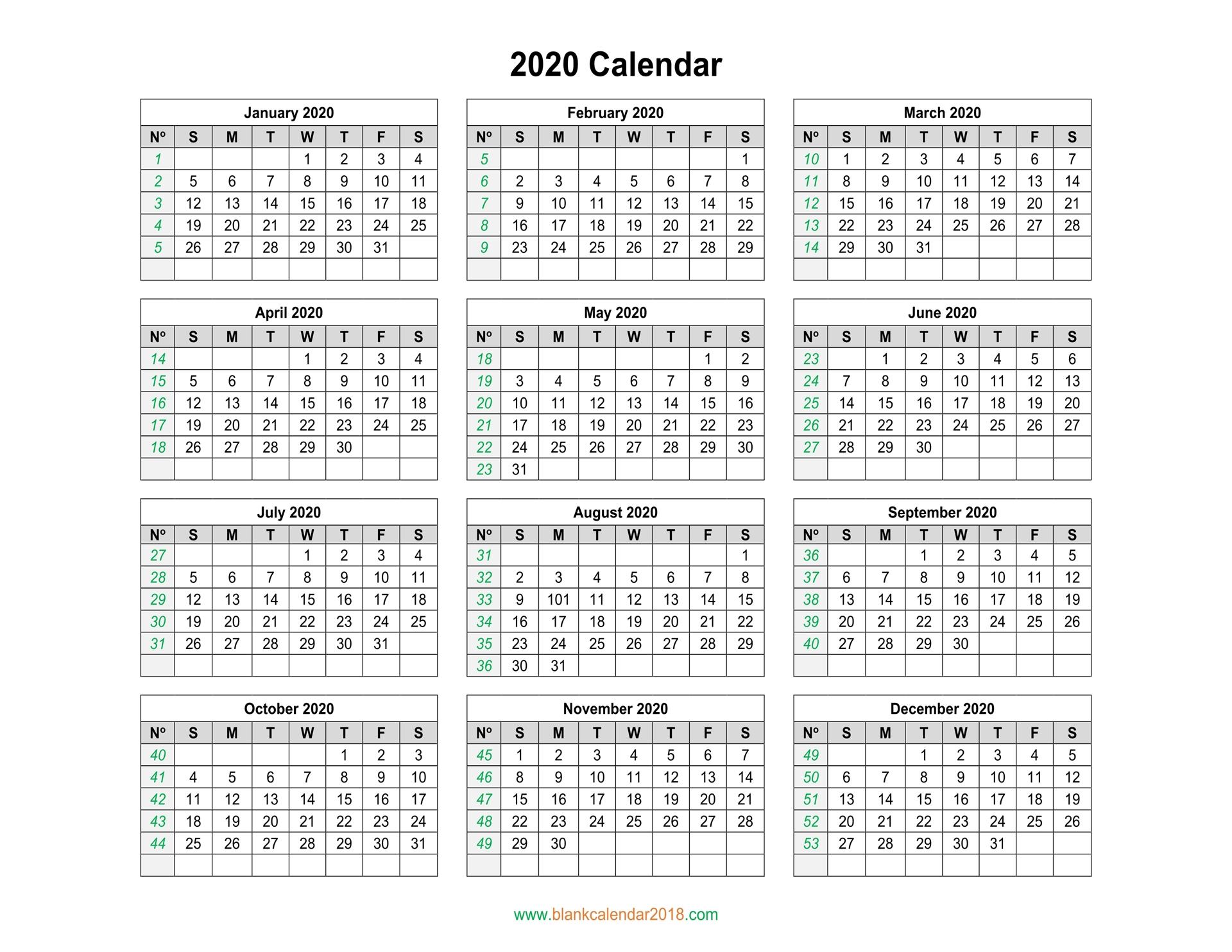 Blank Calendar 2020 with regard to Yearly Printable Calendar 2020