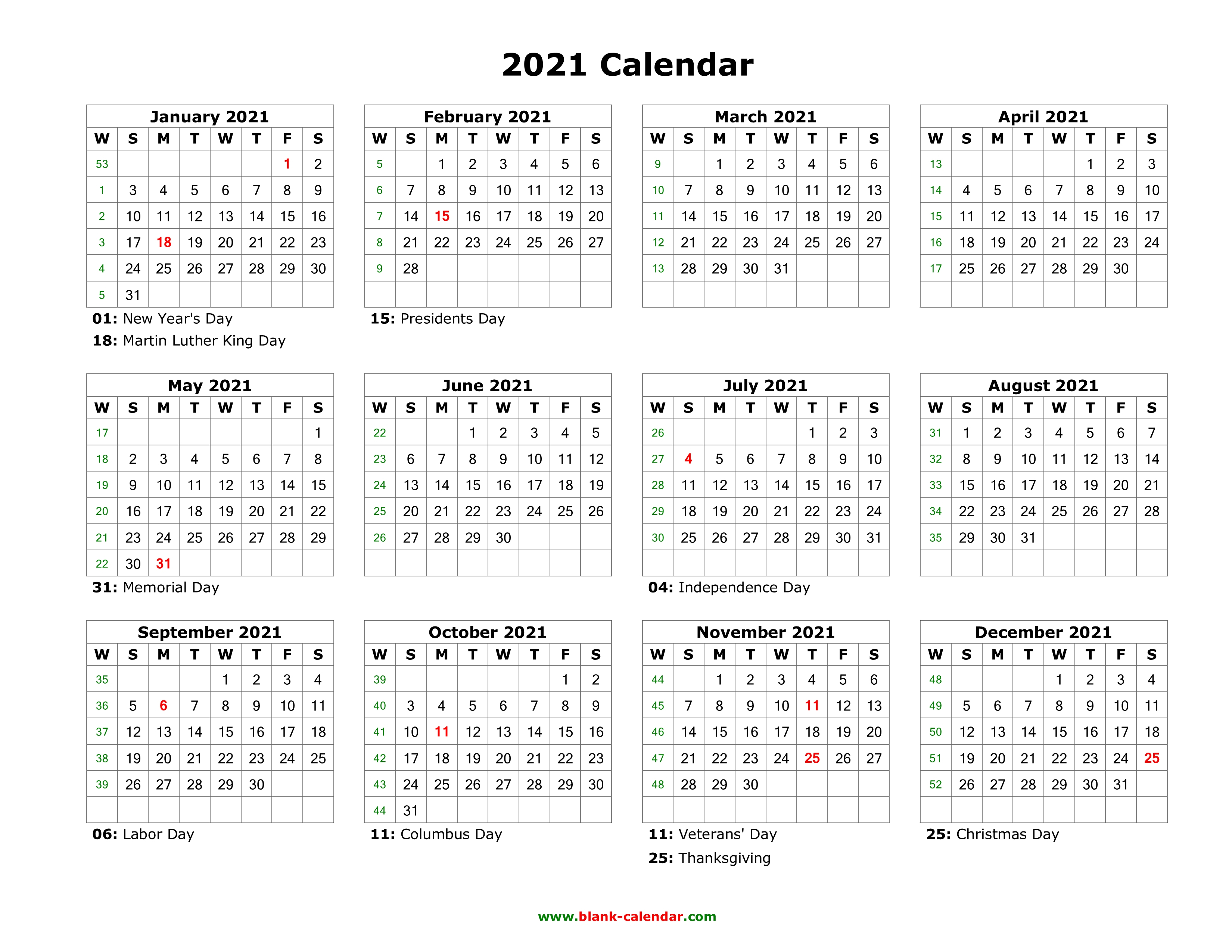Blank Calendar 2021 | Free Download Calendar Templates throughout 2021 Printable Calendar Free