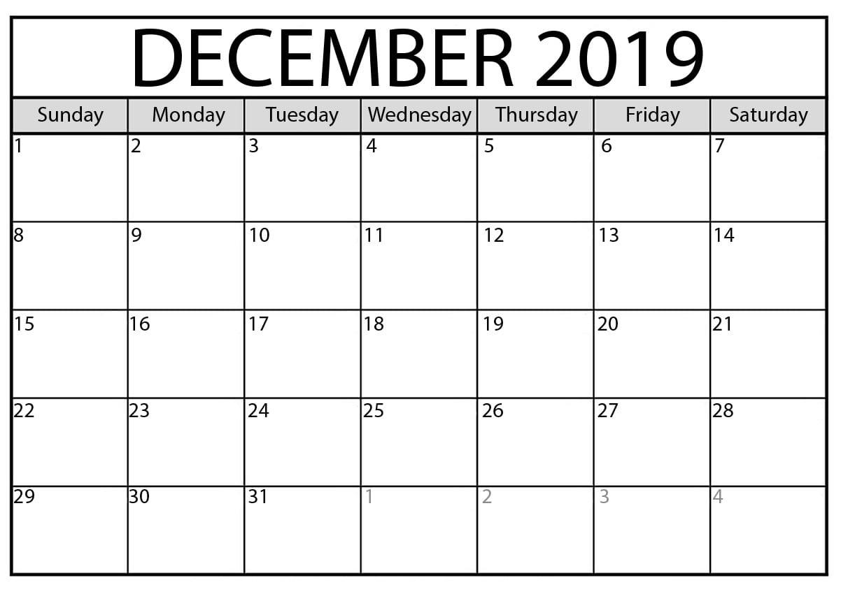 Blank Calendar December 2019 : For Exam Time Status | Free intended for Blank Calendar Pretty