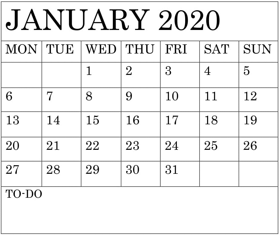 Blank January 2020 Calendar Monthly Template – Free Latest regarding 2020 Monthly Fill In Calendars