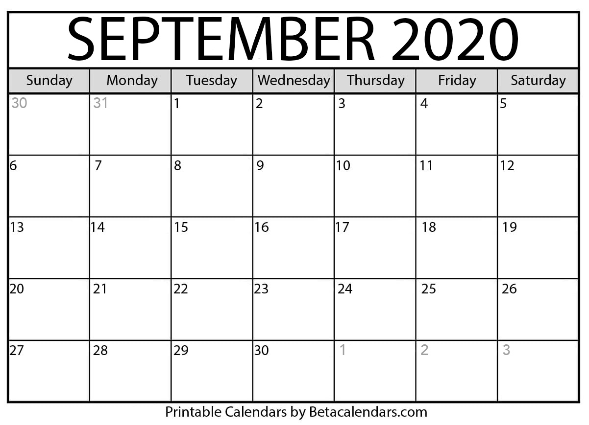 Blank September 2020 Calendar Printable - Beta Calendars throughout Free Printable Monthly Calendar September 2020