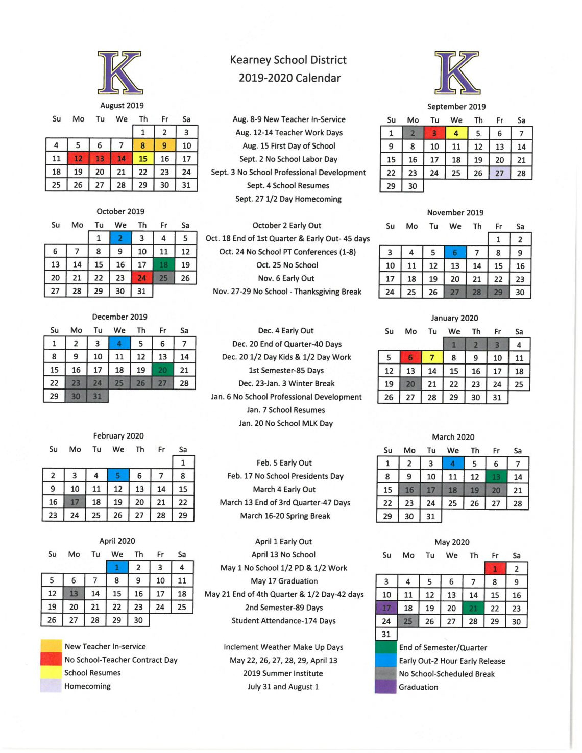 Board Approves 2019-2020 Academic Calendar - Kearney School intended for Calander 2020 We Does The School Close