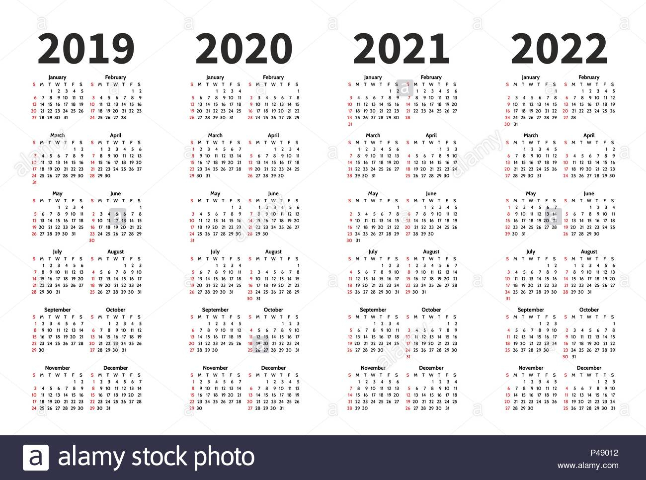 Calendar 2019, 2020, 2021 And 2022 Year Vector Design regarding Three Year Calendar 2020 2021 2022