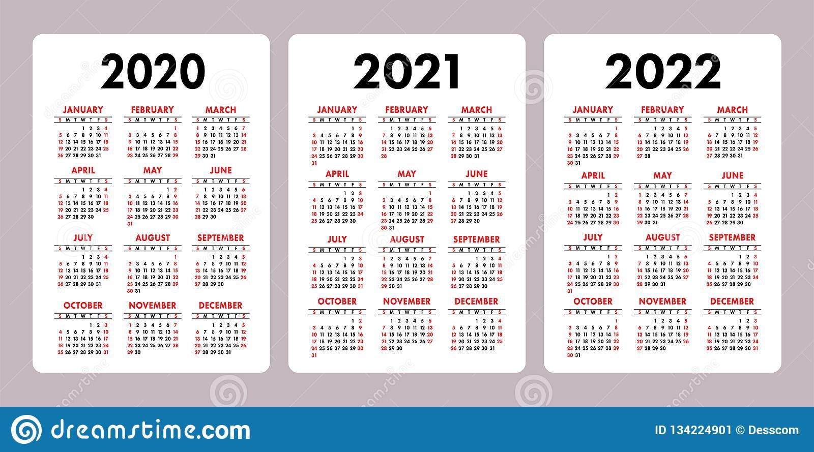 Calendar 2020, 2021, 2022 Years. Vertical Vector Calender for Free Printable Calendar 2020-2022