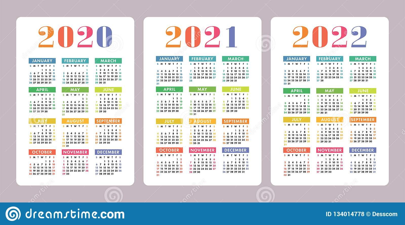 Calendar 2020, 2021, 2022 Years. Vertical Vector Calender pertaining to Free Printable Calendar 2020-2022