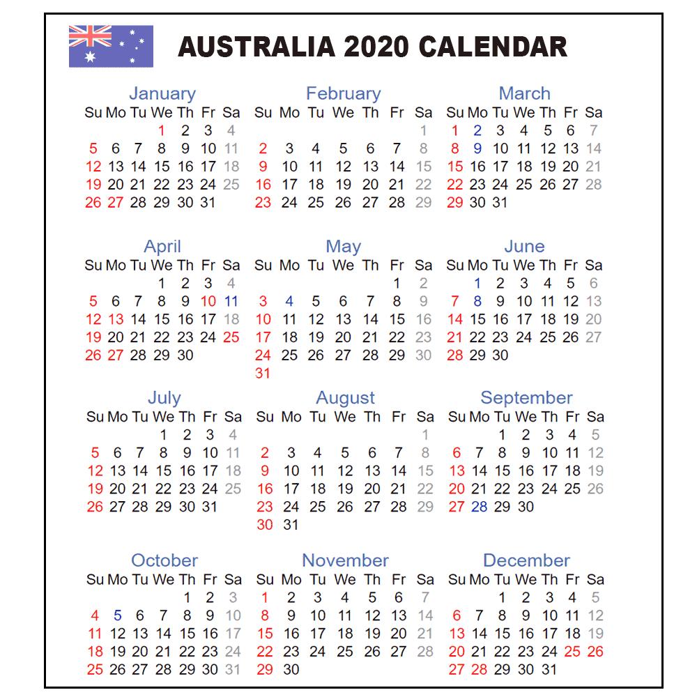 Calendar 2020 Australia | Australia 2020 Yearly Printable intended for 2020 Calendar Australian