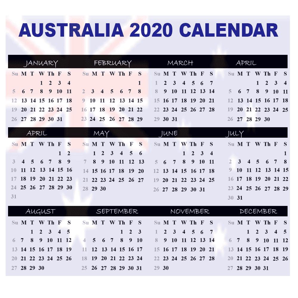 Calendar 2020 Australia   Australia 2020 Yearly Printable throughout Calendar 2020 Australia