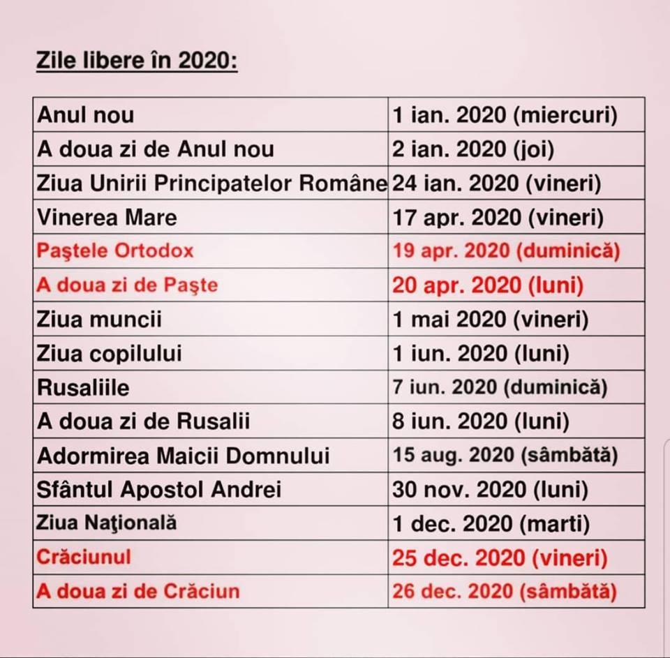 Calendar 2020 Cu Sarbatori Legale Romania - Zile Libere 2020 with Calendar 2020 Zile Libere