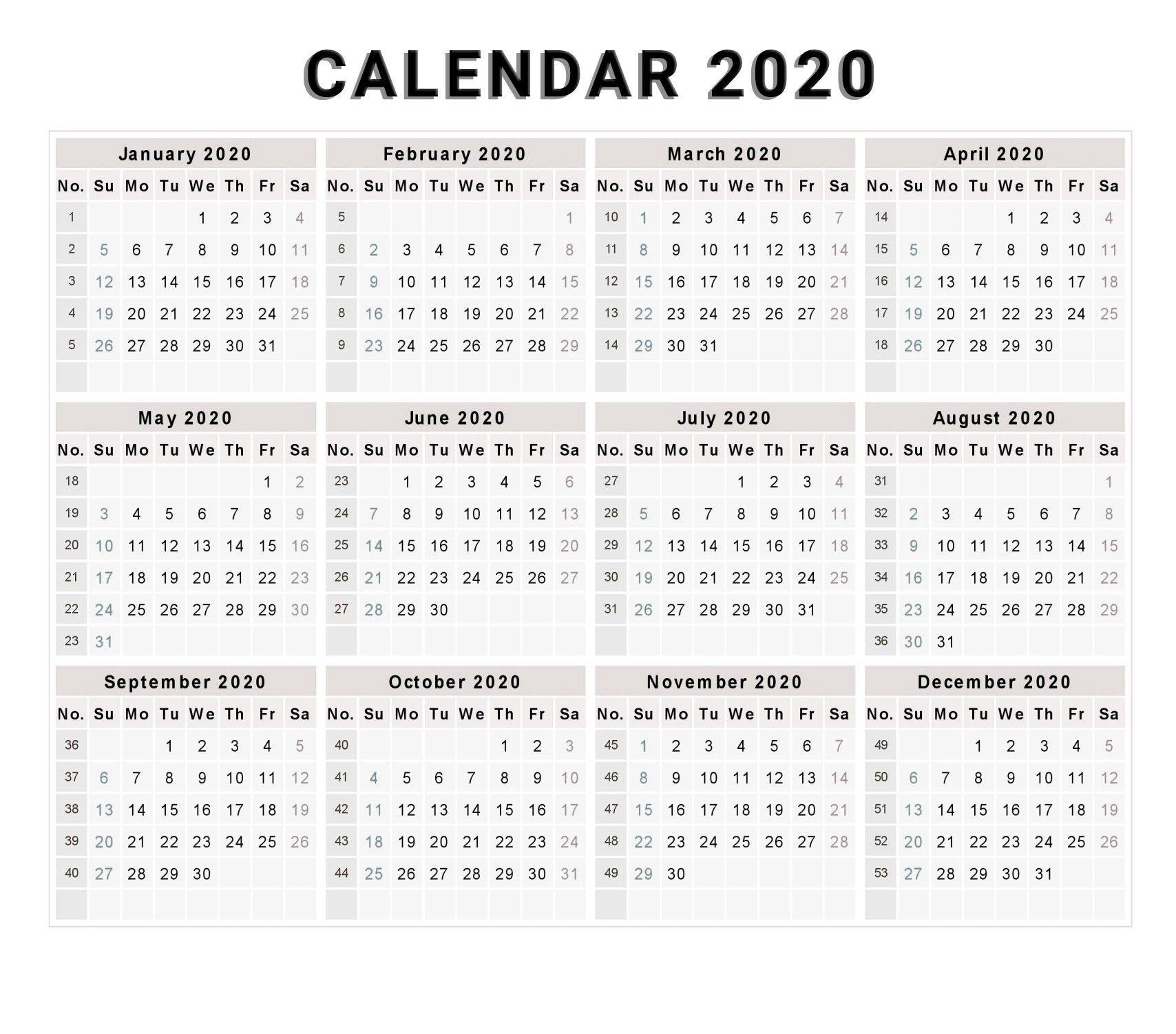 Calendar 2020 Free Printable Calendar 2020 Free 2020 in Free 2020 Calander Sunday To Saturday