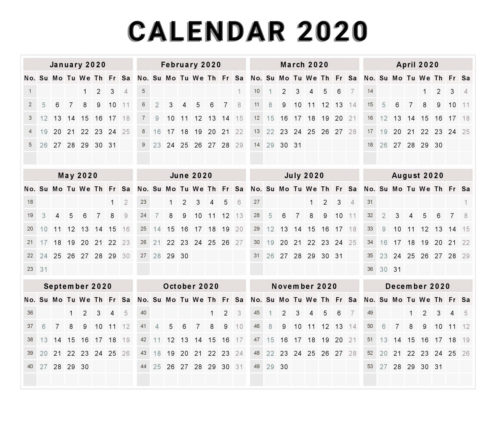 Calendar 2020 Free Printable Calendar 2020 Free 2020 with regard to 2020 Calendar By Month And Week Number Excel