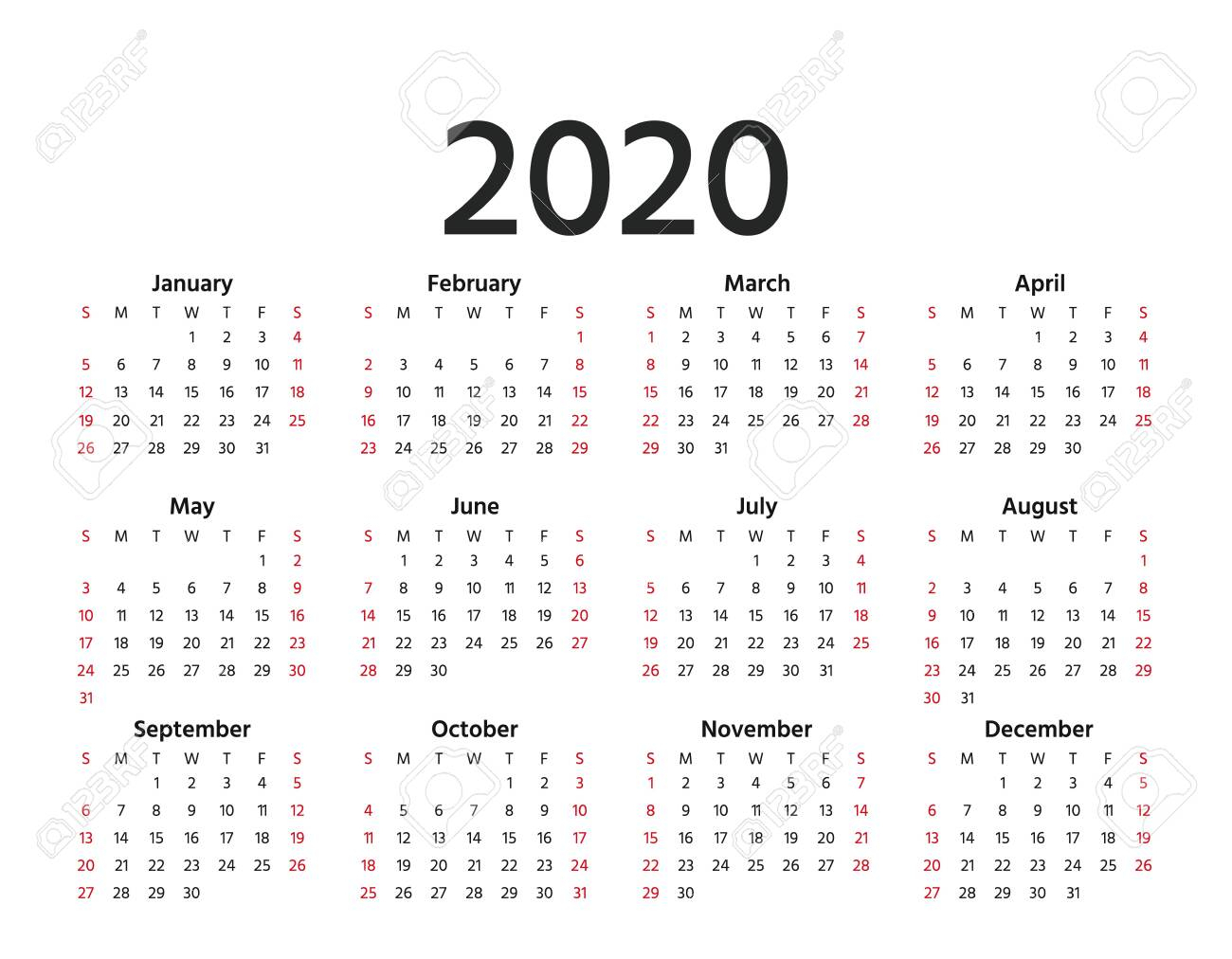 Calendar 2020 In Simple Style. Vector. Stationery 2020 Year Template.. pertaining to 2020 Yearly Calendar