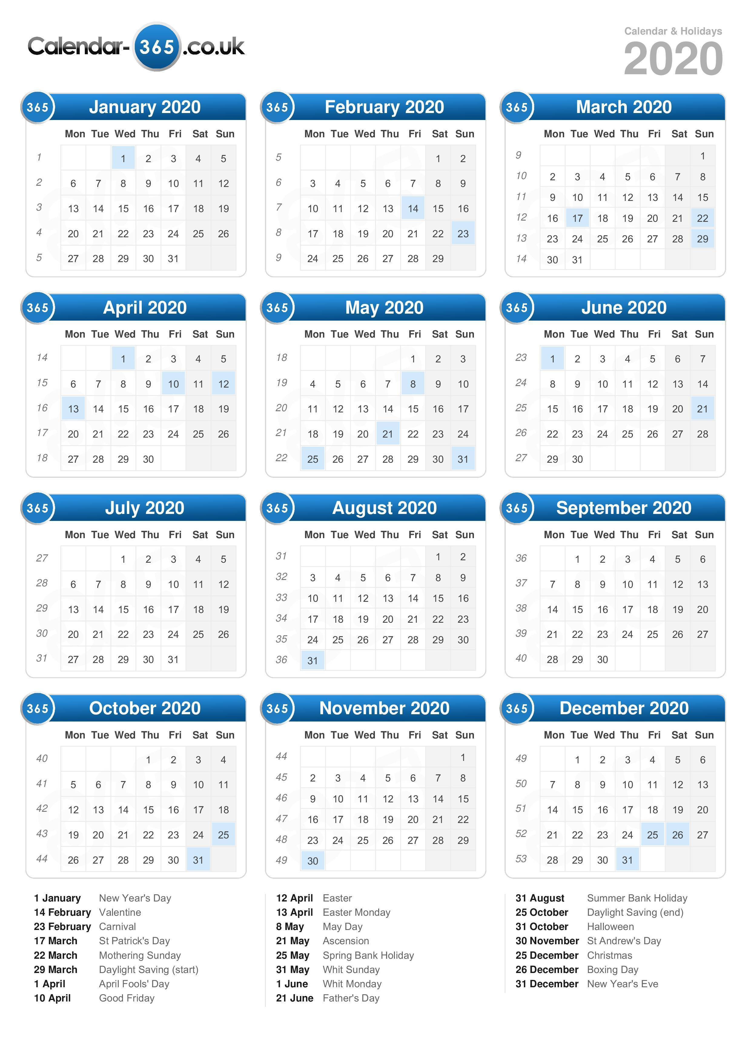 Calendar 2020 inside Calendar 2020 Nl