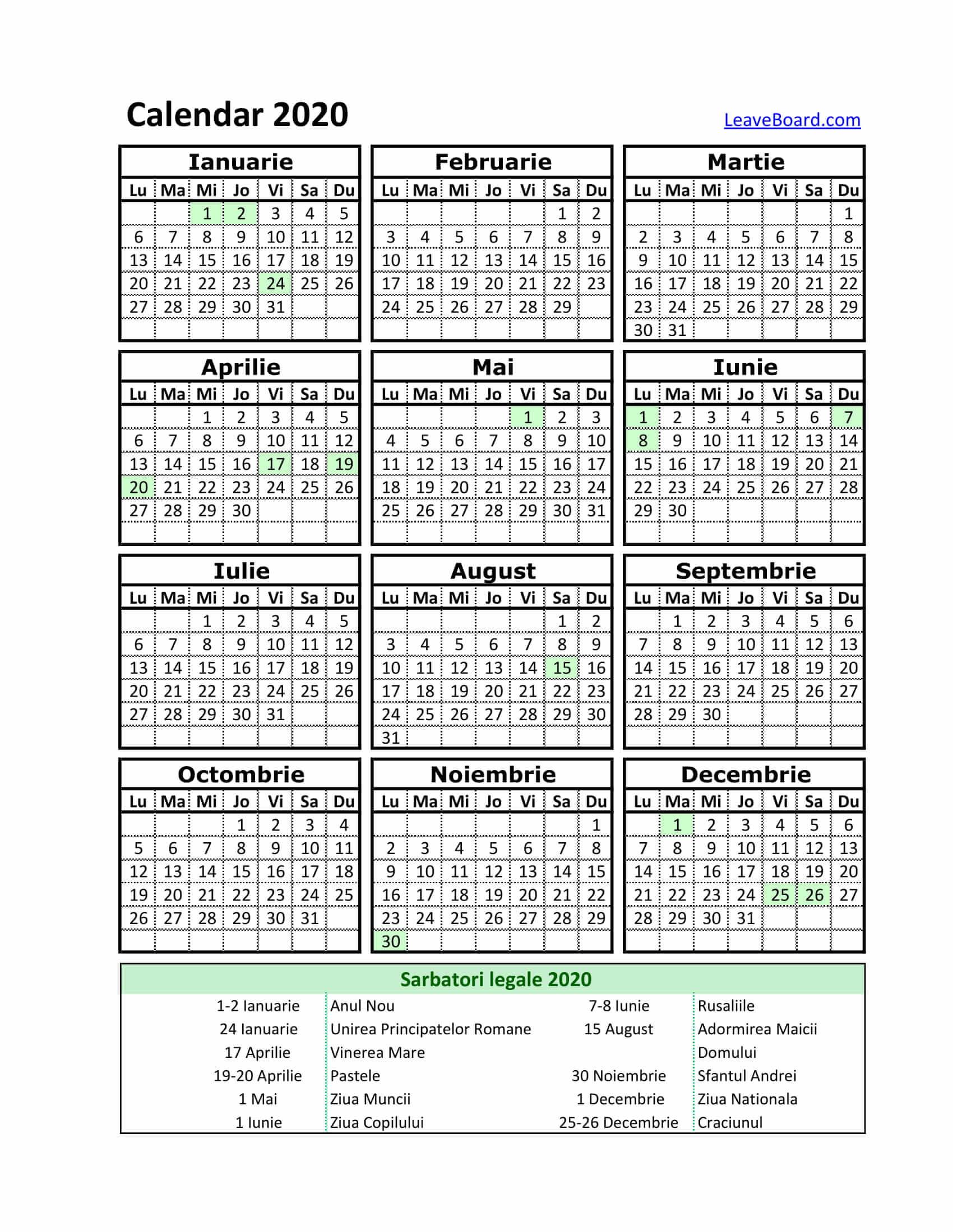Calendar 2020 | Leaveboard regarding Calendar 2020 Zile Libere
