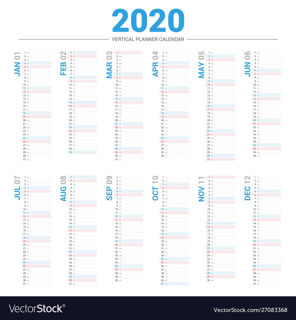 Calendar 2020 Planner Vertical Style for 2020 Calendar Vertical