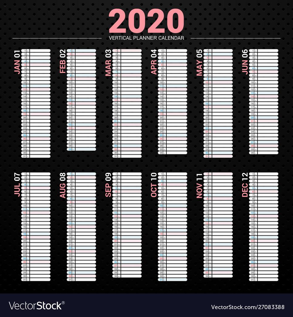 Calendar 2020 Planner Vertical Style inside 2020 Calendar Vertical