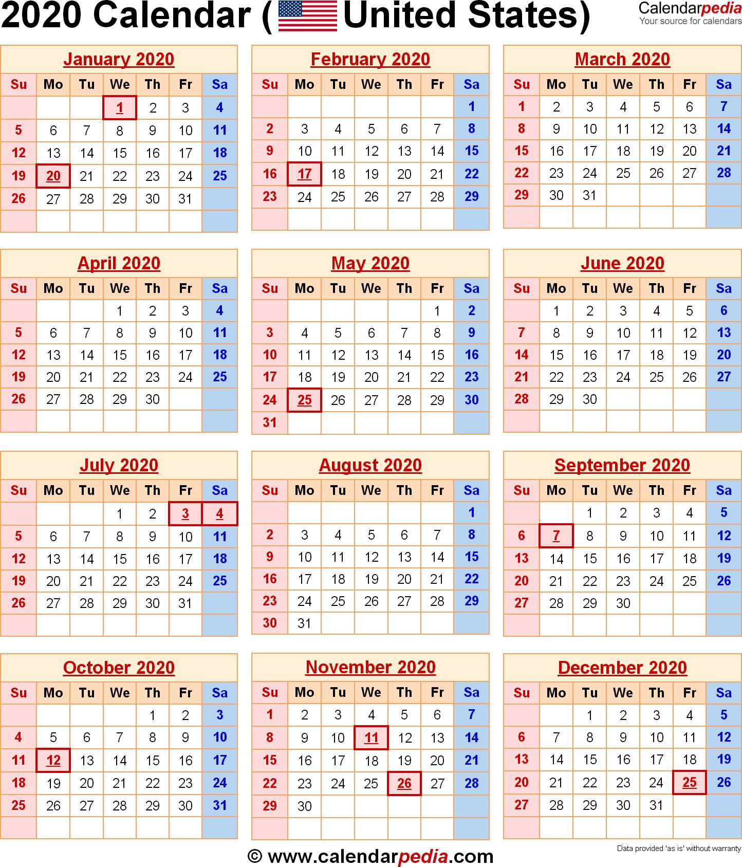 Calendar 2020 Printable With Holidays - Wpa.wpart.co throughout 2020 Calendar With Holidays Printable Free