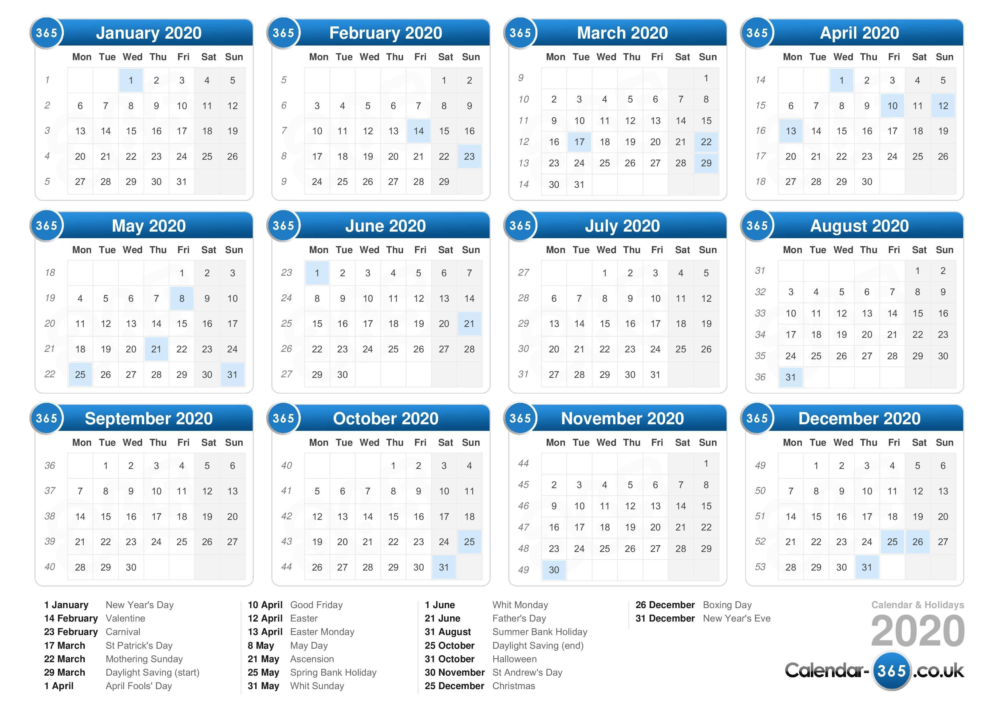 Calendar 2020 throughout Calendar 2020 Nl