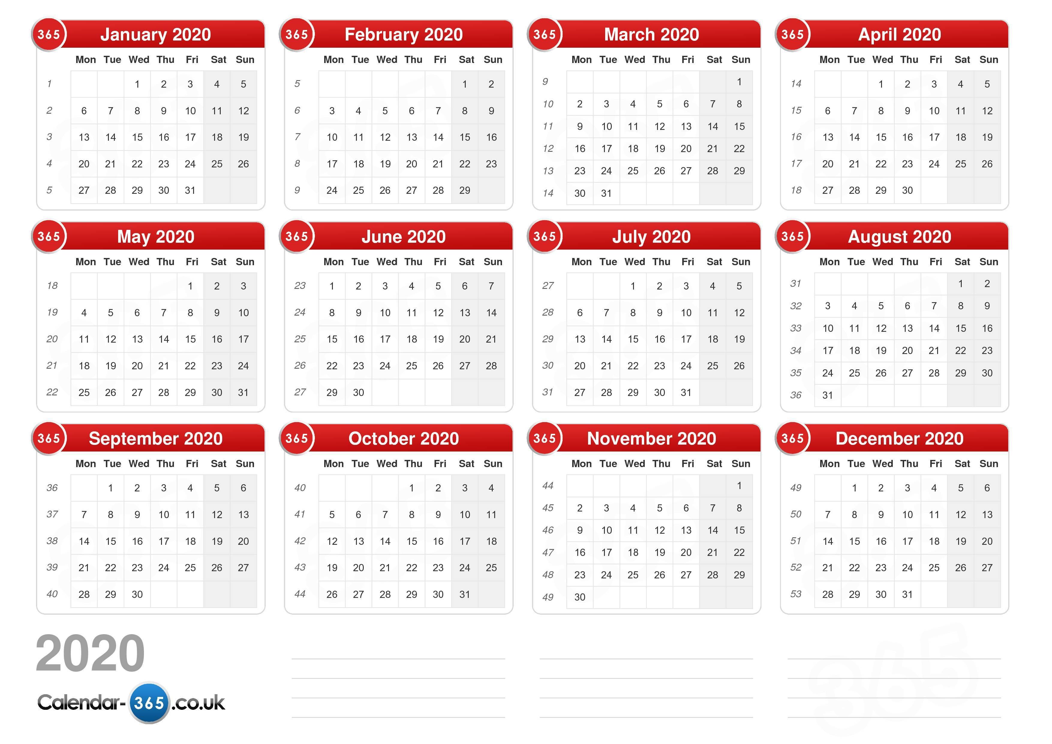 Calendar 2020 within Calendar 2020 Nl