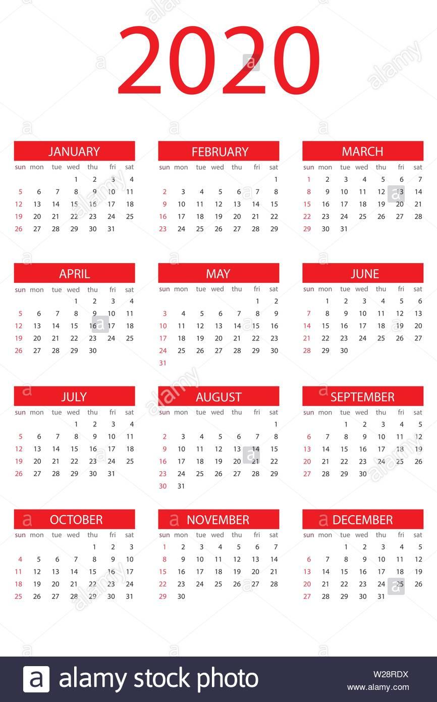 Calendar 2020 Year, Simple Design Template, Vertical Format within 2020 Calendar Vertical