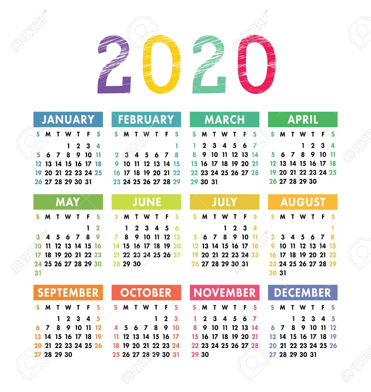 Calendar 2020 Year. Vector Pocket Or Wall Calender Template inside 2020 Pocket Calendar