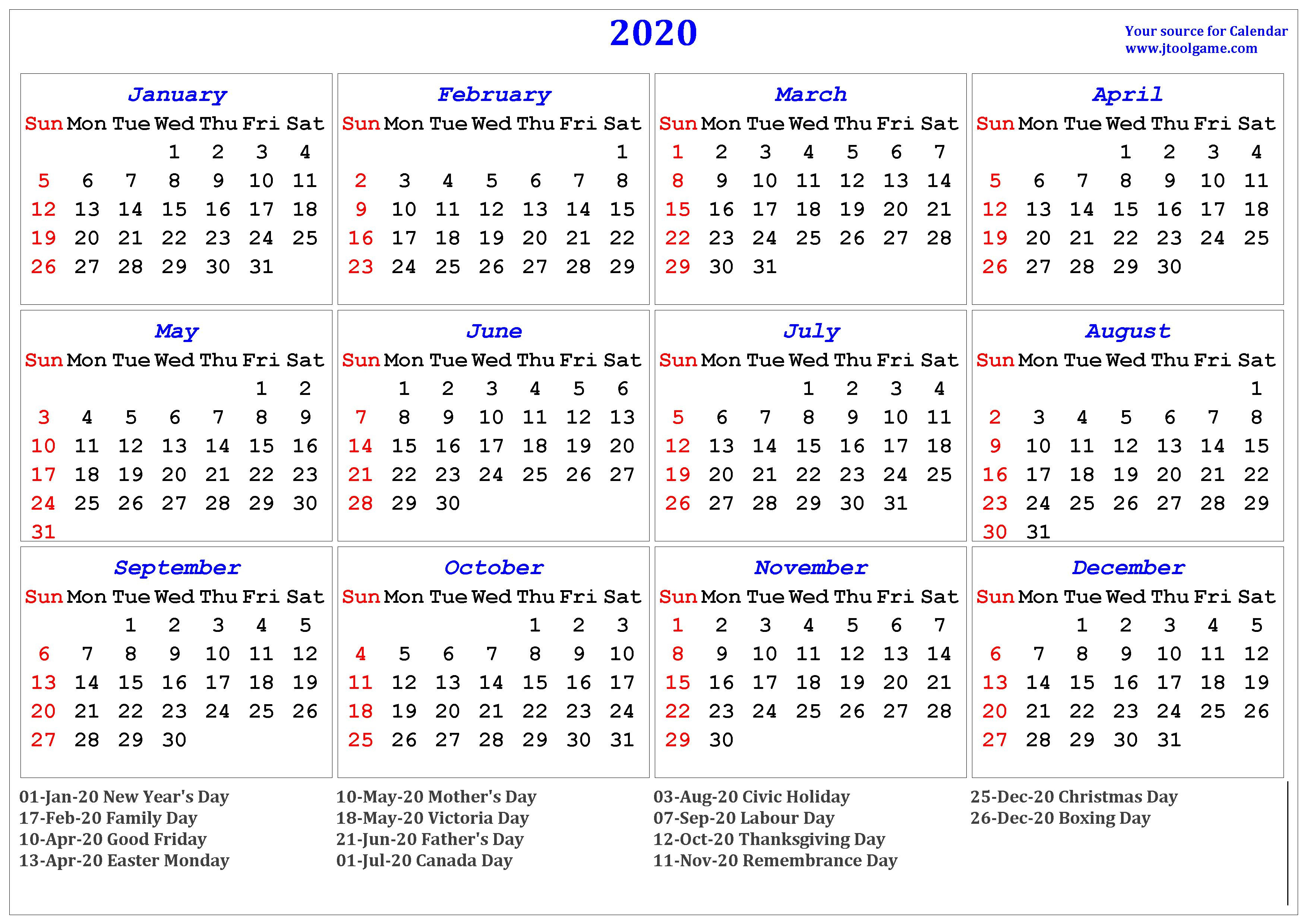 Calendar Canada 2020 - Wpa.wpart.co inside Printable Canadian Calendar With Holidays