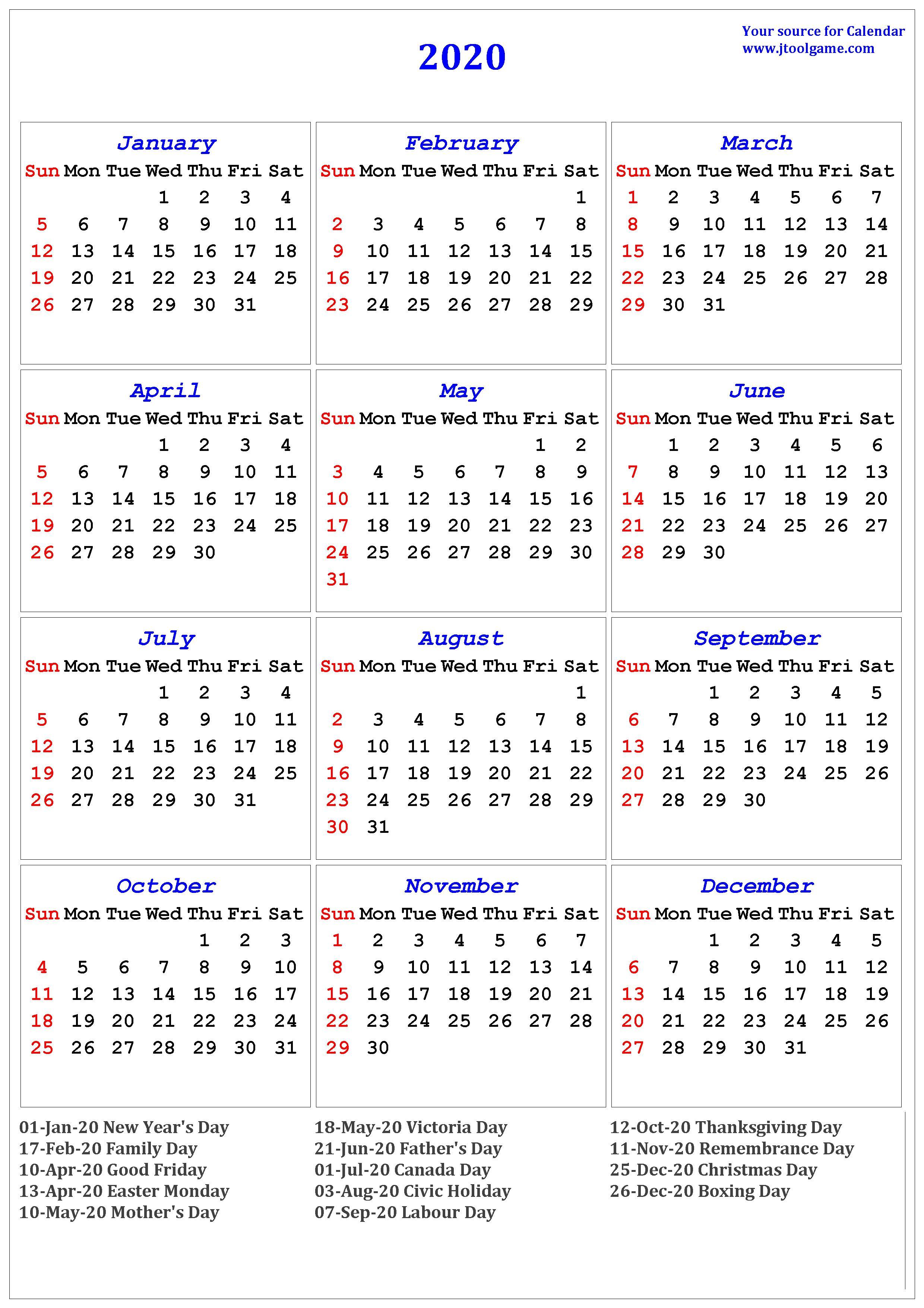 Calendar Canada 2020 - Wpa.wpart.co regarding Free Printable 2020 Canadian Calendar