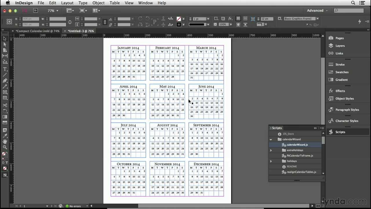 Calendar Design Tutorial: Making The Calendar Tables | Lynda throughout Calendar Wizard 2020 Indesign