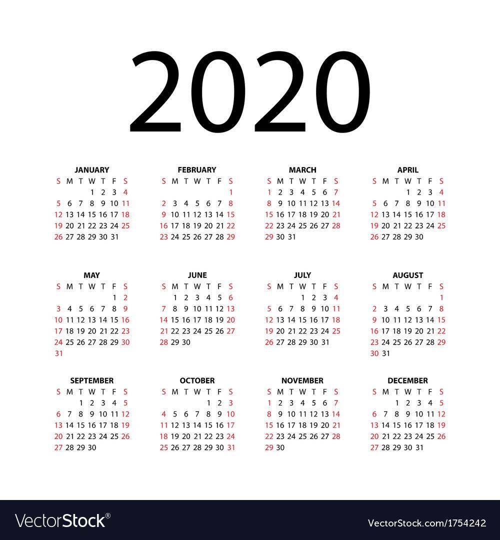 Calendar For 2020 intended for 2020 Calendar Free