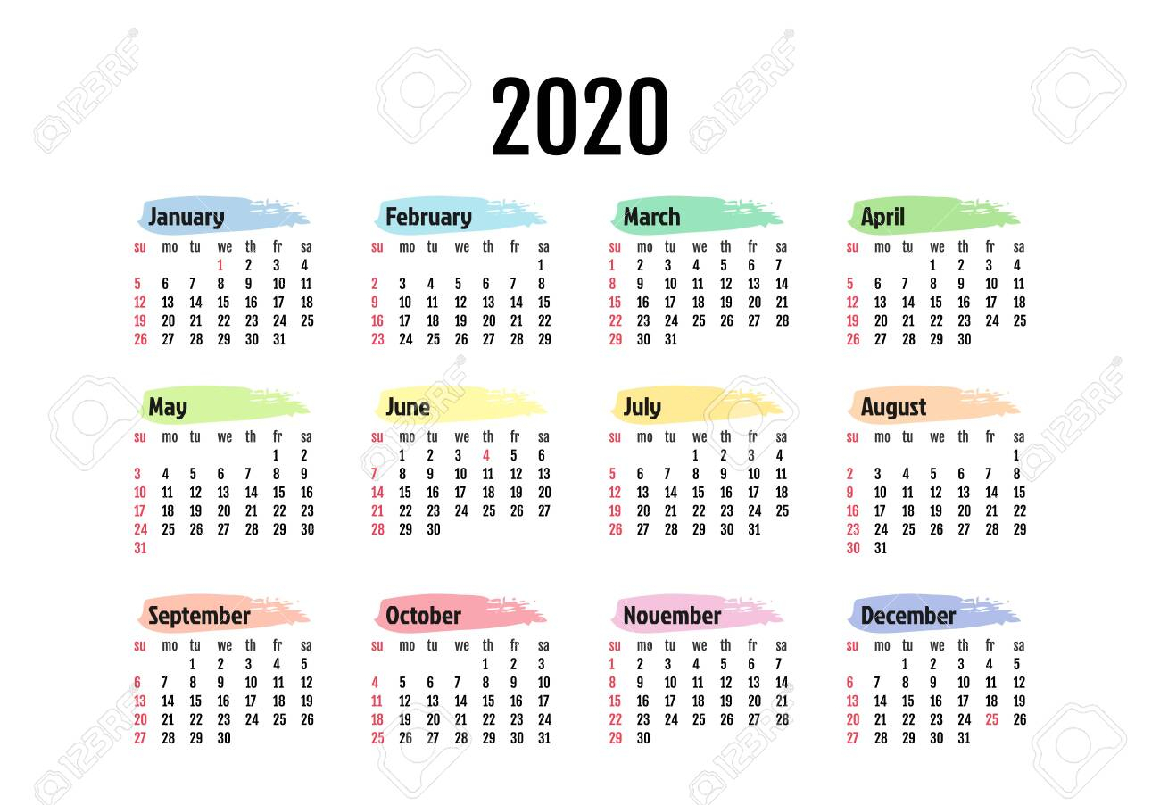 Calendar For 2020 Isolated On A White Background. Sunday To Monday,.. inside 2020 Monday Through Sunday Calendar Template