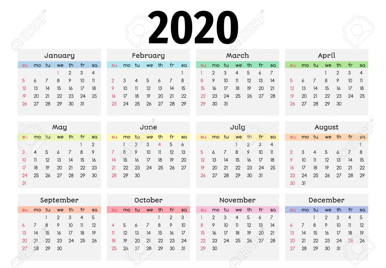 Calendar For 2020 Isolated On A White Background. Sunday To Monday,.. intended for 2020 Monday Through Sunday Calendar Template