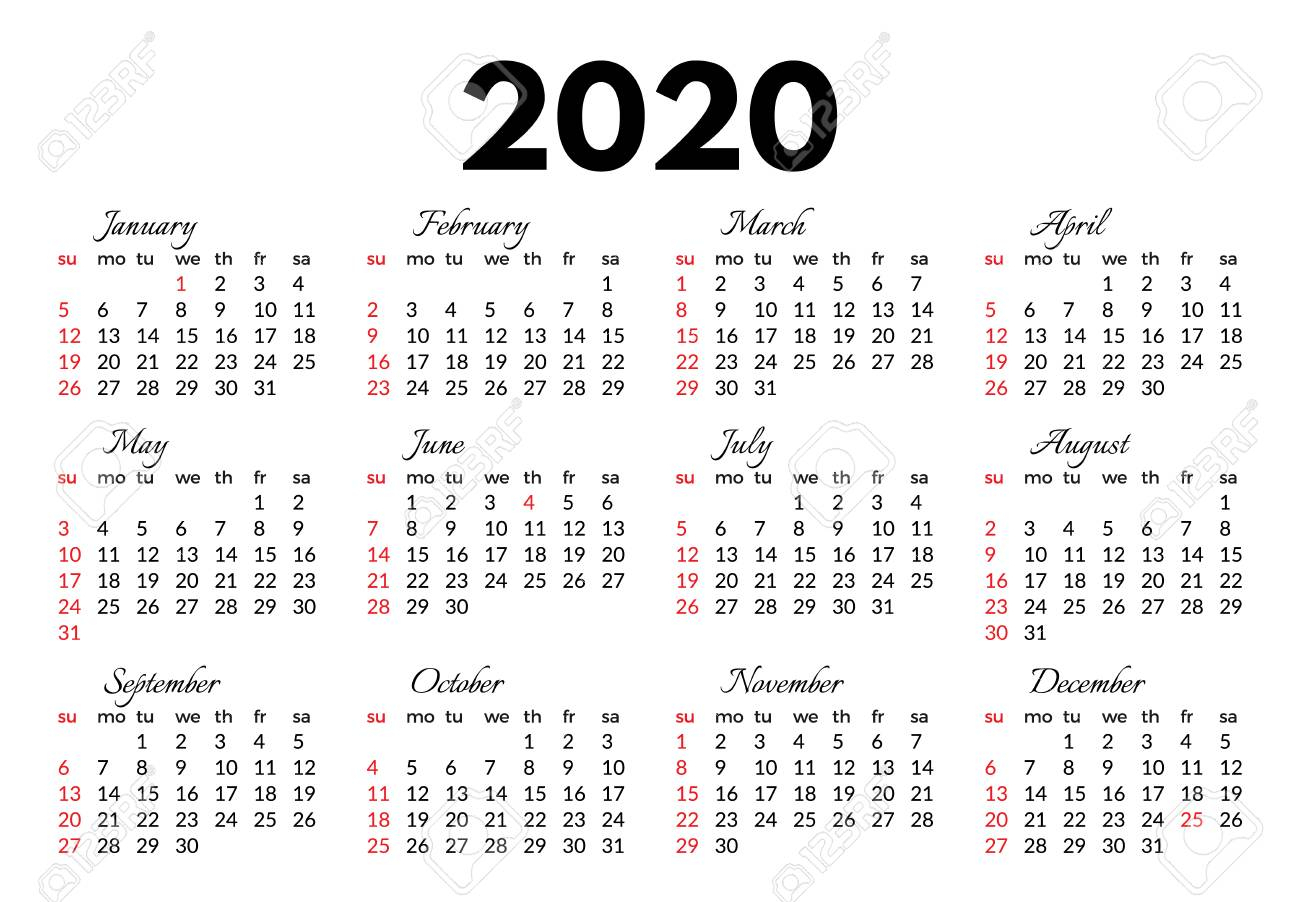 Calendar For 2020 Isolated On A White Background. Sunday To Monday,.. pertaining to 2020 Monday Through Sunday Calendar Template