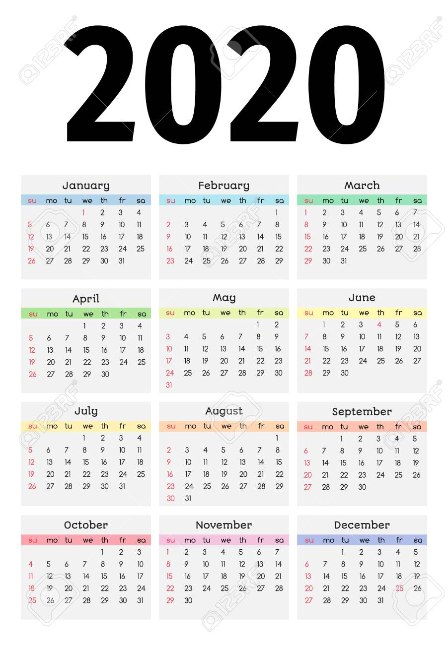Calendar For 2020 Isolated On A White Background. Sunday To Monday,.. within 2020 Monday Through Sunday Calendar Template